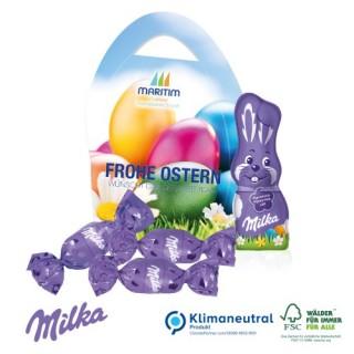 Bedruckter Werbekarton in Eierform