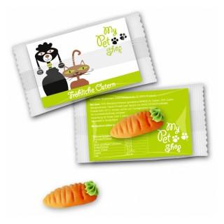 Möhrchen oder Karotte aus Marzipan mit bedruckter Karte als Oster Werbegeschenk
