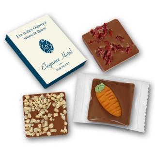 Schokolade mit Wunschzutat in Karton als Werbeartikel bedrucken