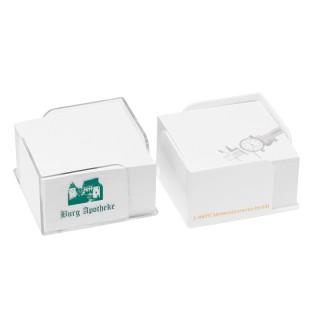 Zettelbox mit 2 Papierentnahmen klar / weiß (ab 100 Stück)