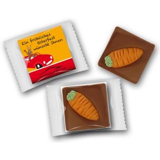 Schoko Mini zu Ostern mit Möhrchen auf Karte in Plastik eingeschweißt als Werbegeschenk zu Ostern