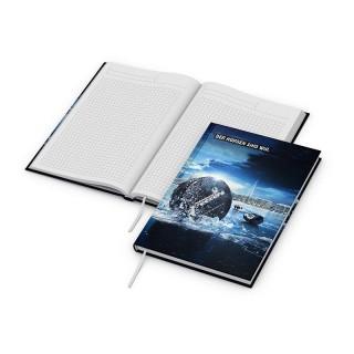 Recycling Note Book DIN A5 bunt bedrucken mit Digitaldruck auf dem kompletten Einband