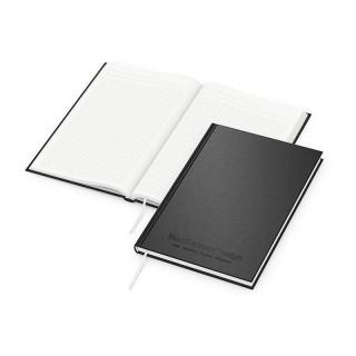 Recycling Note Book DIN A4 mit schwarzer Ton-in-Ton-Prägung auf schwarzem Einband