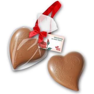 Großes Schokoladenherz als Werbeartikel bedrucken