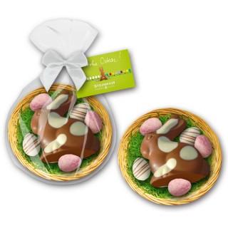 Trüffel Osternest als Werbeartikel im Beutel mit individuell bedruckbarer Karte als Anhänger