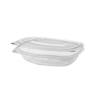 """Feinkostbecher - Salatschalen To Go mit Klappdeckeln ohne Druck, PLA """"pure"""" 250 ml glasklar (ab 300 Stück)"""