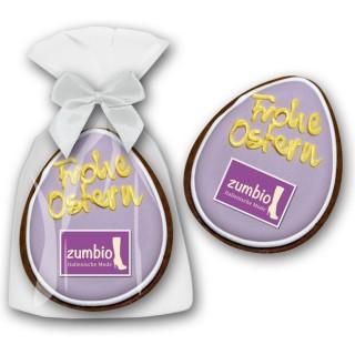 Honigbrot als Ei zu Ostern mit Text nach Wahl per Hand beschriften lassen Werbegschenk