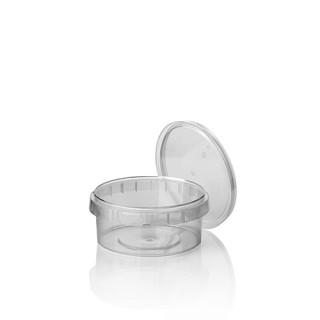 Feinkostbecher ohne Druck, PP 240 ml Ø 9,5 cm · 5,6 cm transparent mit Originalitätsverschluss (ab 432 Stück)