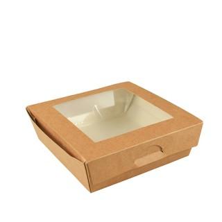 """Feinkost-Boxen ohne Druck, Pappe mit Sichtfenster aus PLA """"pure"""" eckig 1000 ml braun (ab 200 Stück)"""