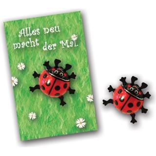 Marienkäfer auf individuell bedruckbarer Werbekarte als Ostergeschenk oder Mailing zu Ostern