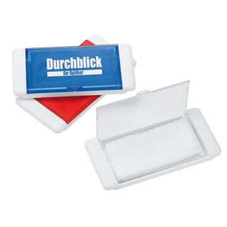 Brillenputztücher: Mikrofaser-Brillenputztuch im Kunststoffbox (ab 100 Stück)