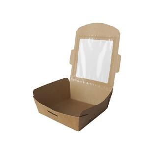 """Feinkostboxen ohne Druck, Pappe mit Sichtfenster aus PLA """"pure"""" eckig 650 ml """"100% Fair"""" (ab 240 Stück)"""
