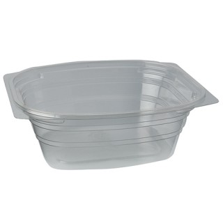 """Verpackungsbecher ohne Druck, PLA """"pure"""" eckig 700 ml transparent (ab 300 Stück)"""