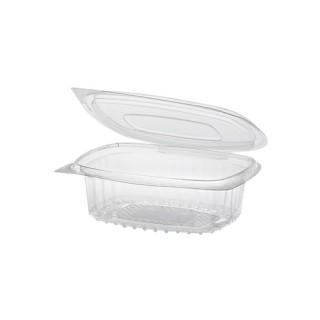 Feinkostbecher & Salatschalen To Go ohne Druck mit Klappdeckel, R-PET oval 250 ml (ab 600 Stück)