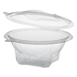 Feinkostbecher und Salatschalen To Go ohne Druck, mit Klappdeckel, R-PET, rund, 750 ml, glasklar (ab 300 Stück)