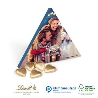 Präsent Trend bedrucken in Dreieckverpackung mit Lindt Herzen