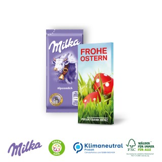 Milka Schokoladentafel in Werbekartonage zu Ostern, 40 g (ab 100 Stück)