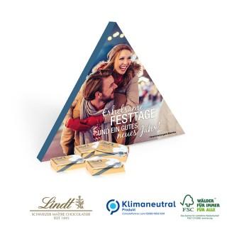 Lindt Schokotäfelchen in Trend Dreieck Verpackung bedrucken mit eigenem Werbemotiv