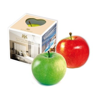 Apfel in Schachtel als Werbebox bedrucken