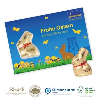 Lindt Promotion-Card mit Goldhase 10g als Grußkarte bedrucken (ab 100 Stück)