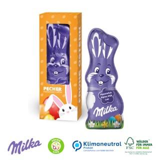 Milka Schmunzelhase 45g in Werbebox mit Sichtfenster (ab 100 Stück)