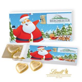 Lindt Präsentbox mit 5 Schokoherzen zu Weihnachten(ab 100 Stück)