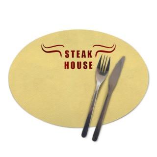 Ovale farbige Tischsets bedrucken als Werbeartikel für Gastronomie und Events in Großauflage mit Flexodruck