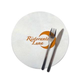 Runde Tischsets aus Airlaid Stoff bedrucken im Flexodruck als Gastro Werbeartikel