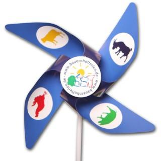Windmühlen 4 Flügel aus MC Papier mit Front-Rosette (ab 1.000 Stück)