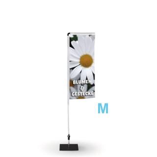 Beachflag Rechteckig als eckige Form günstig bedrucken 240 cm Größe M