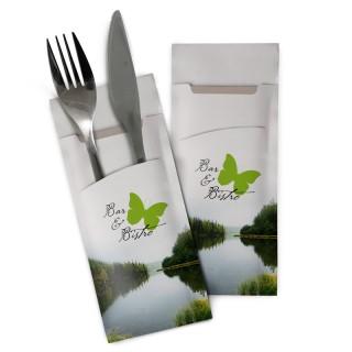Recycling Bestecktaschen Eco mit horizontalem Schlitz bedrucken. Besteck nicht enthalten.
