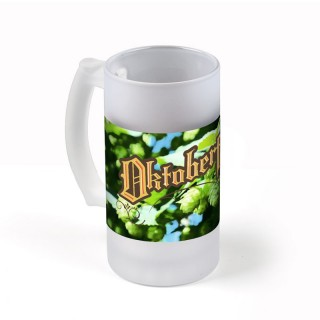 Schwerer Milchglas Bierkrug mit Keramikglasur bedrucken