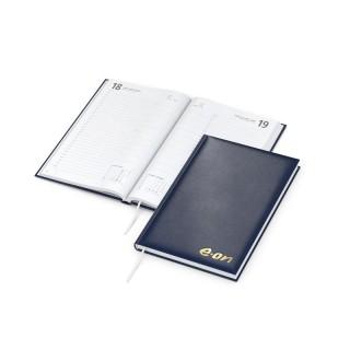 Buchkalender Basic Balacron blau mit Goldprägung