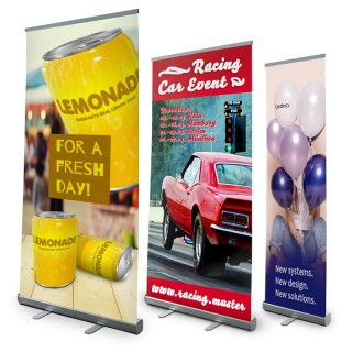 Roll Up Banner Display 'Classic' 60-200cm x 200-300cm inkl. Digitaldruck und Tasche