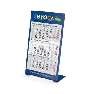 Einblatt-Monatskalender Desktop 3 Color Bestseller in Blau