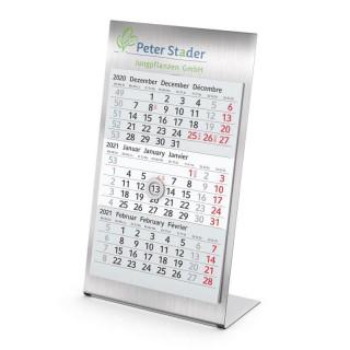 Tischkalender Stahl-Optik als Metall Aufstellkalender Steel Complete für Büro mit eigenem Logo bedrucken