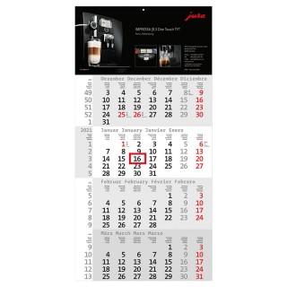 Einblatt-Monatskalender Rational 4 mit roten Kalendarium