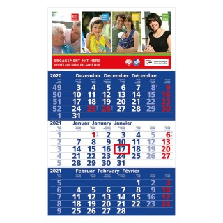 Solid 3 Wandkalender mit Kalendarium in dunkelblau