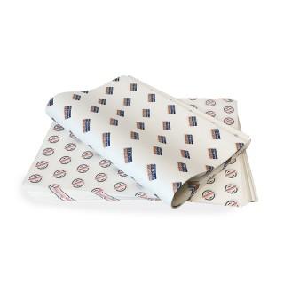 Fettdichtes Einschlagpapier individuell bedruckt mittel 400x300 mm (ab 1.000 Stück)