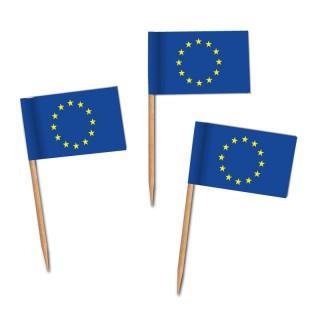 Käsepicker, Partypicker, Europa-Spieße, Party, Partydeko, Dekoration, Dekorationen, Kanapee, Canapé, Fahne, Flagge, Kostprobenpicker, Miniflagge, Miniflaggen, Minifahne, Minifahnen, Holzpicker, Picker, Europa, europäische Flagge