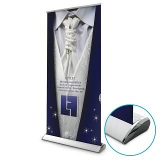 Exklusiv Banner RollUp mit glänzender Kartusche für noblen Auftritt