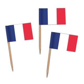 Käsepicker, Partypicker, Frankreich, Spieße, Party, Partydeko, Dekoration, Dekorationen, Kanapee, Canapé, Fahne, Flagge, Kostprobenpicker, Miniflagge, Miniflaggen, Minifahne, Minifahnen, Holzpicker, Picker
