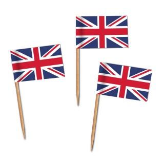 Käsepicker, Partypicker, Spieße, Party, Partydeko, Dekoration, Dekorationen, Kanapee, Canapé, Fahne, Flagge, Kostprobenpicker, Miniflagge, Miniflaggen, Minifahne, Minifahnen, Holzpicker GB Fahne, Picker Union Jack Englandflagge