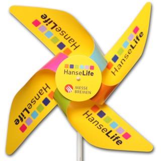 Windmühlen 4 Flügel aus Kunststoff YUPO 116 g/m² mit Front-Rosette (ab 1.000 Stück)
