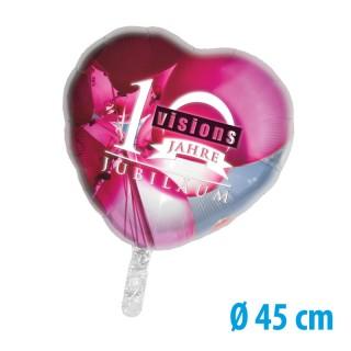 Herz Folienballons mit buntem Motiv als Fotodruck individualisieren