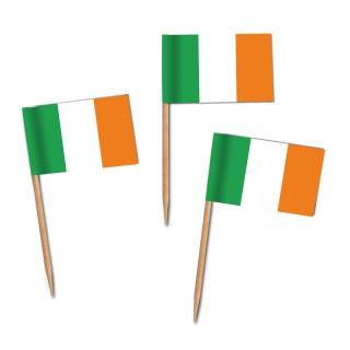 Käsepicker, Partypicker, Spieße, Party, Partydeko, Dekoration, Dekorationen, Kanapee, Canapé, Fahne, Flagge, Kostprobenpicker, Miniflagge, Miniflaggen, Minifahne, Minifahnen, Holzpicker Irland Fahne, Picker Ireland Flagge