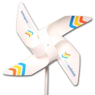 Windmühlen 4 Flügel in Kleinauflage aus Kunststoff YUPO 116 g/m² ohne Front-Rosette (ab 100 Stück)