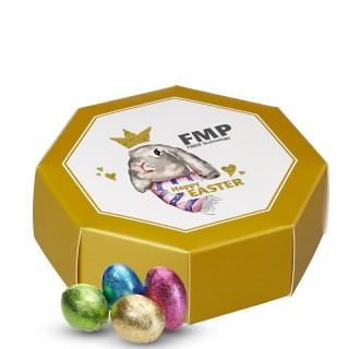 Kinnerton Schokoeier in 8-eckiger Geschenkbox bedrucken als Werbemittel oder Ostergeschenk