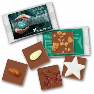 Schokolade bedrucken mini mit Nuss