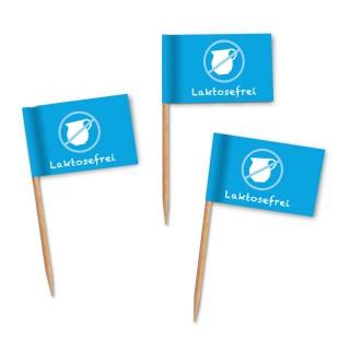 Laktosefreier Käse, Milch oder Schokolade können als Kostproben oder auf dem Buffet mit den Laktosefrei-Fähnchen einfach gekennzeichnet werden.